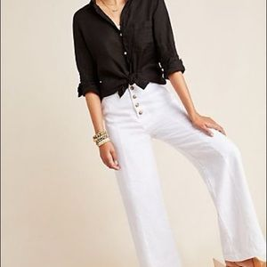 Mia Linen Wide Leg White Pants